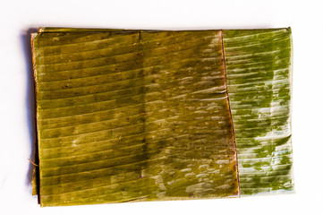 banana leaf used for preparation of typical venezuelan christmas dish hallaca