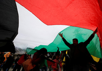 Demonstrators hold a Palestinian flag during a protest in Gaza City