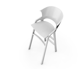 White Bar Modern Stools with Table on a white background. 3d Rendering.