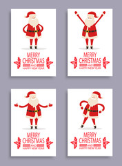 Merry Christmas Covers Set Vector Illustration