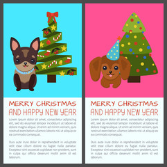 Merry Christmas with Dogs Vector Illustration