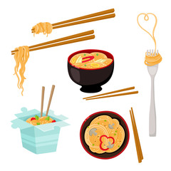Chinese, Japanese, Asian noodle set – bowl, chopstick, takeout box, fork, cartoon vector illustration isolated on white background. Box, bowl, fork and chopsticks with noodle, Asian fast food