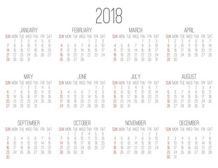 Year 2018 monthly calendar