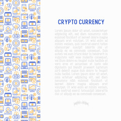 Cryptocurrency concept with thin line icons set: mining farm, bitcoin, exchange, wallet, online banking, coin, payment. Modern vector illustration for banner, web page.