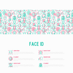 Face ID concept with thin line icons: face recognition, scanning, mobile authentication, approved, disapproved, face detect. Modern vector illustration, template for web page.