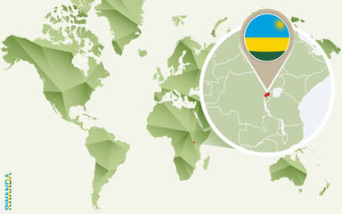 Infographic for Rwanda, detailed map of Rwanda with flag.