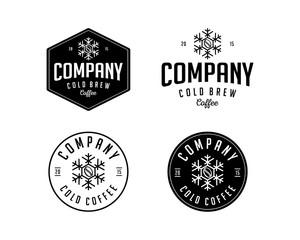 Line Art Cold Coffee for Cafe or Restaurant Illustration Vintage Set Logo Vector