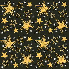 Seamless pattern with hand-drawn stars