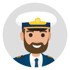 Bearded Captain in Uniform Portrait Illustration