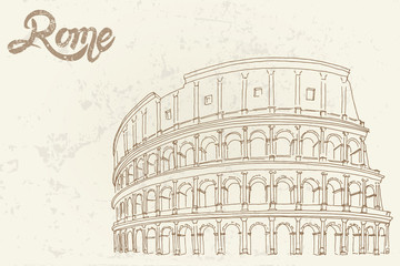 Wall Mural - Vector sketch of The Coliseum or Flavian Amphitheatre, Rome, Italy.
