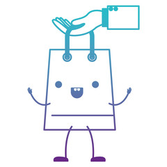 hand holding animated kawaii trapezoid shopping bag in degraded blue to purple color contour