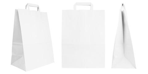 Set of blank kraft paper bags