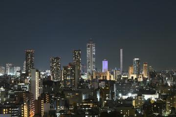 日本の東京都市風景・美しい夜景「豊島区の高層ビル群や街並みを望む」(中央の超高層ビルはサンシャイン60)