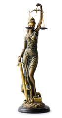statue of Justice, over white