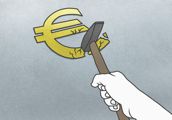 Cropped hand breaking Euro symbol with hammer on gray background