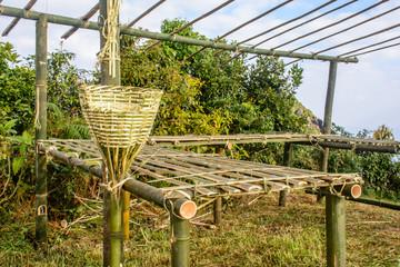 unfinish bamboo hut in the farm
