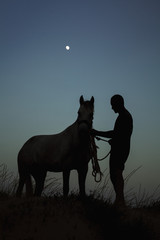 Silhouette man standing with horse on field against blue sky at dusk