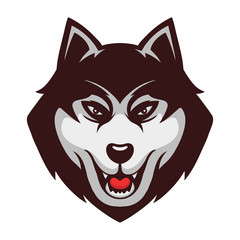 Husky Wolf Dog Mascot Illustration Logo Vector