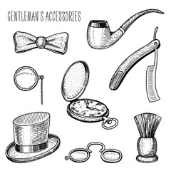 gentleman accessories. hipster or businessman, victorian era. engraved hand drawn in old vintage sketch. cylinder hat, smoking pipe, straight razor, monocle, pince-nez, shaving brush, butterfly tie.