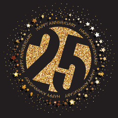 Decorative golden emblem of anniversary - vector illustration. 25th birthday logo.