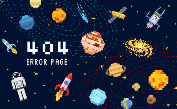 404 error page. not found. space background, spaceman, robot rocket and satellite cubes solar system planets pixel art, digital vintage game style. internet connection problem concept.
