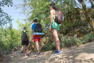 Youth group tourists sightseeing in the woods with backpack, vacation travel