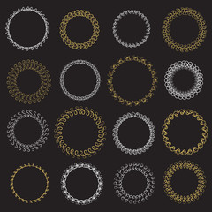 Set of graphic wreaths. Vector illustration.