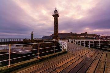 Whitby West Pier Light in Yorkshire