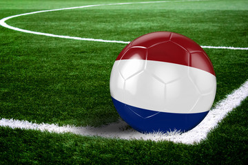 Netherlands Soccer Ball on Field at Night