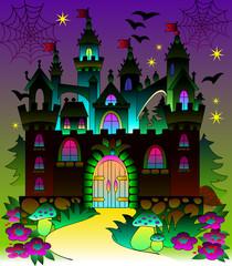 Illustration of a fairyland fantasy castle, vector cartoon image.