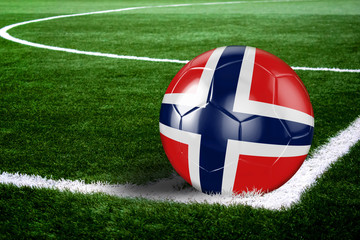 Norway Soccer Ball on Field at Night