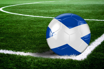 Scotland Soccer Ball on Field at Night
