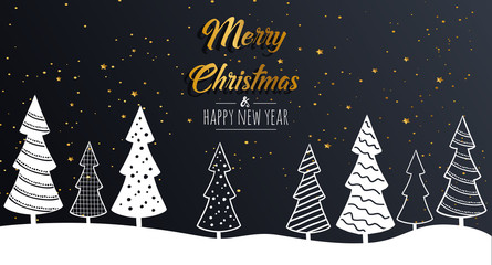 Merry Christmas greeting card shiny with gold elements and modern Christmas trees. Vector illustration.