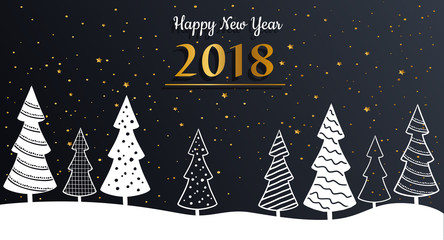 Happy New Year greeting card shiny with gold elements and modern Christmas trees. Vector illustration.