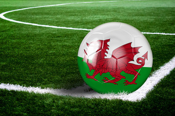 Wales Soccer Ball on Field at Night