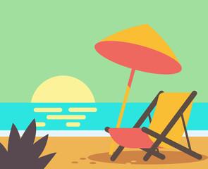 Wooden beach chair on beach.