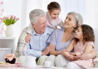 Portrait of a happy senior couple with grandchildren drinking te