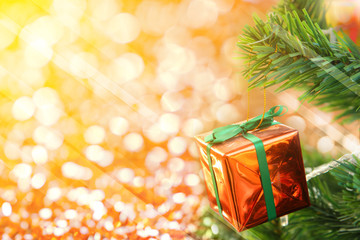gift box and new year golden light bokeh background image for design and other.