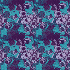 An unusual seamless pattern in the form of blue abstract figures through which the light purple flowers are visible on a dark violet background