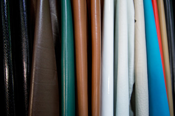 Variety of colorful leather samples