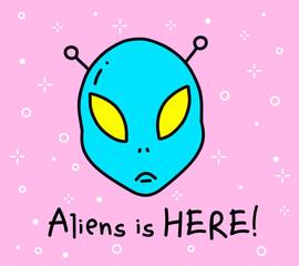 Vector color illustration of blue color alien head. Cartoon fantastic emoji emblem. Simple object on pink background.