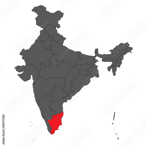 Tamil Nadu Red On Gray India Map Vector Stock Image And Royalty - India map vector
