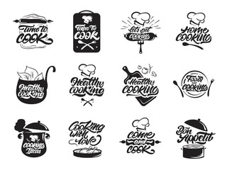 Cooking logos set. Healthy cooking. Bon appetit. Cooking idea.  Cook, chef, kitchen utensils icon or logo. Handwritten lettering vector illustration