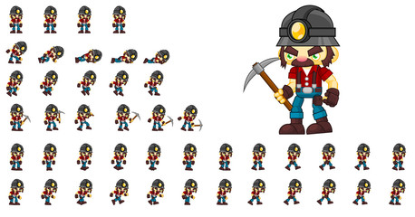 Miner Animated Game Character