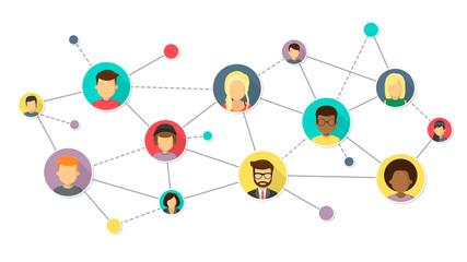 Netzwerk von Menschen international Flat Design