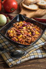 Chili con carne in a bowl.