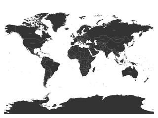 Vector political map of World with capital cities.