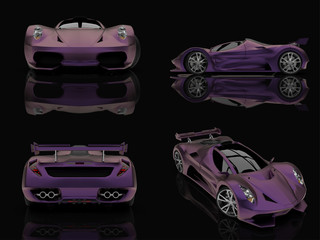 Set purple racing concept car. Image of a car on a black glossy background. 3d rendering.