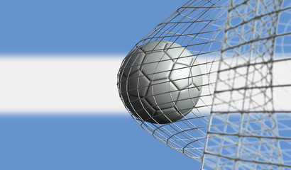 Soccer ball scores a goal in a net against Argentina flag. 3D Rendering