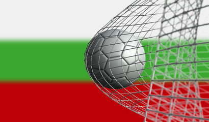 Soccer ball scores a goal in a net against Bulgaria flag. 3D Rendering